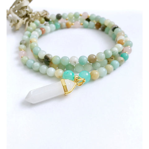 amazonite mala necklace beaded healing stones