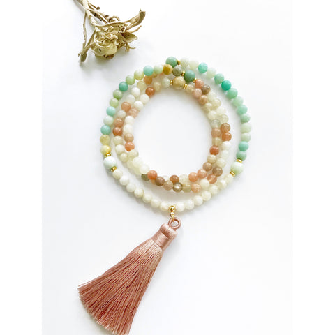 moonstone mala necklace, mala beads, mala necklace, amazonite mala