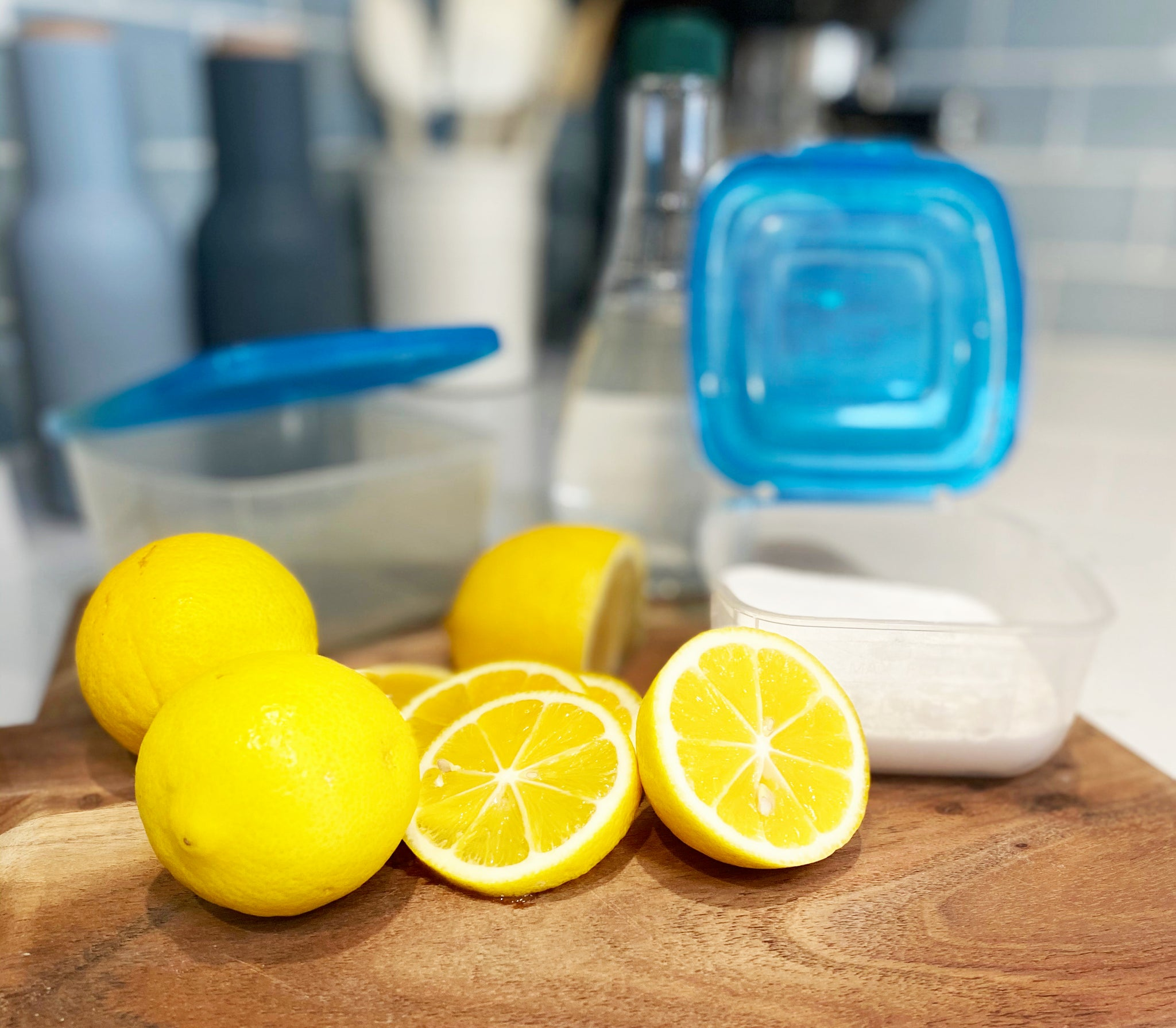 Non-toxic ways to remove stains from re-usable plastic containers.