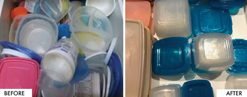 Organised tupperware drawer Before & After