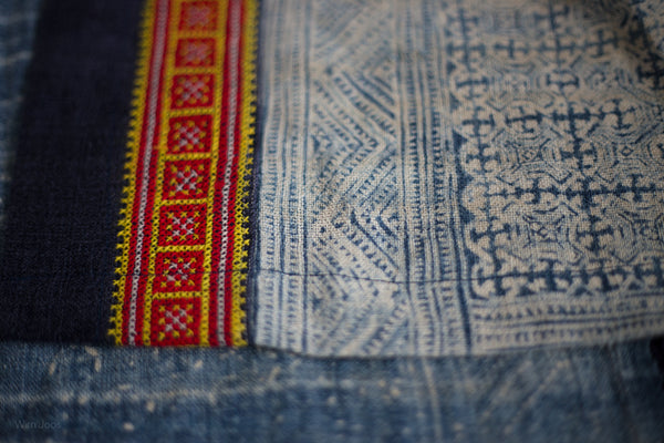 Embroidered and batik hill tribe fabric | Thailand