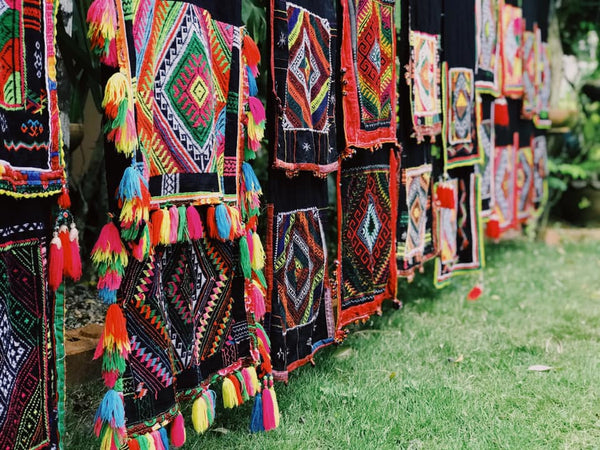 Collection of hill tribe fabric designs - Thailand.