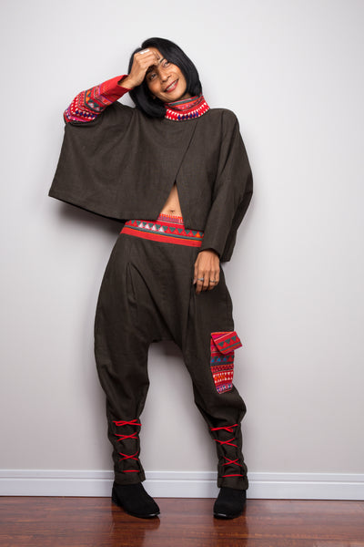 Matching outfit, Hill tribe pants and matching pullover poncho top