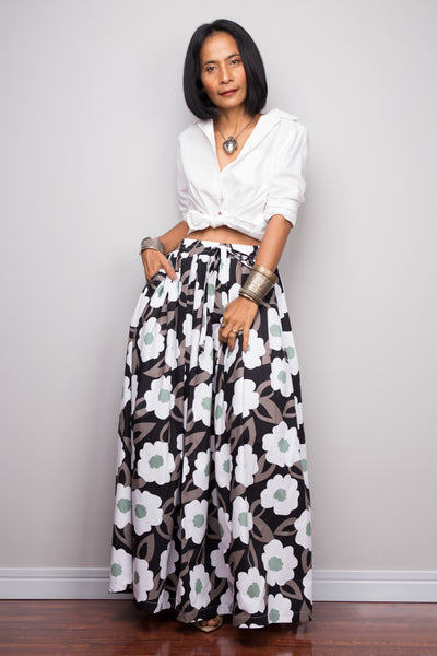 Floral skirt,  Pleated maxi skirt, cotton summer skirt