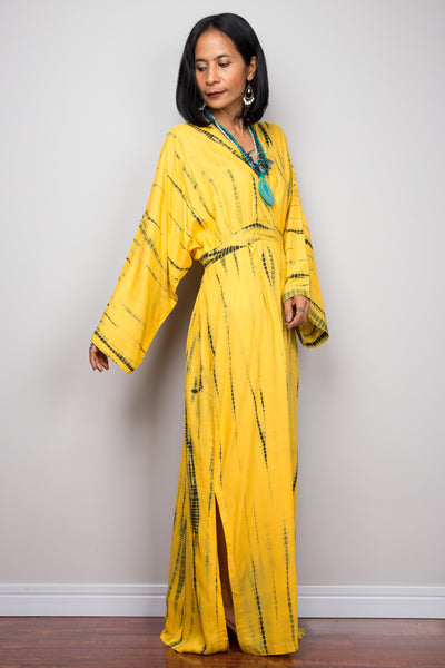 Tie dye kimono kaftan dress, beach dress, yellow maxi dress, resort kaftan, summer kaftan, loose fit dress, loungewear, yellow kaftan with pockets