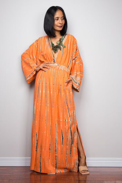 Tie dye kimono dress with pockets