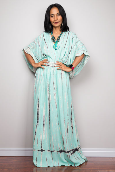 Tie dye kimono kaftan dress, summer kaftan dress, mint green maxi dress, resort kaftan, loungewear