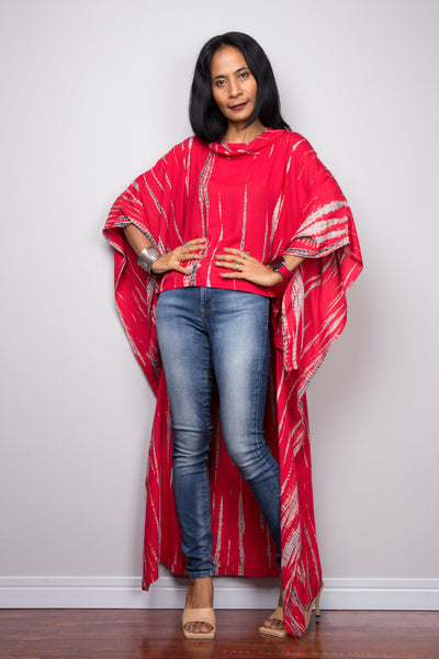 Buy red Tie dye Kaftan top dress online. Short front tie dye dress by Nuichan'