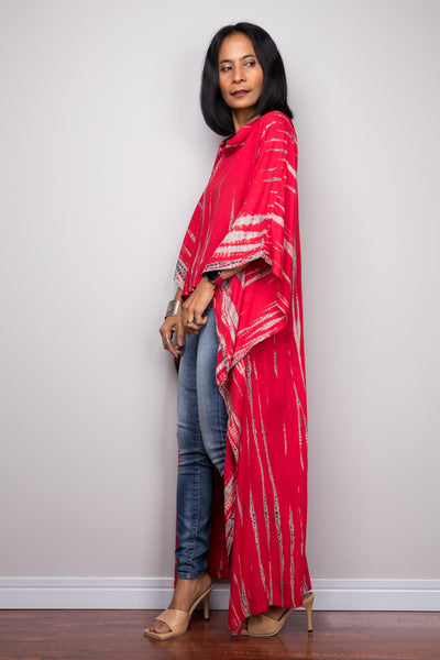 Buy red Tie dye Kaftan top dress online. Short front tie dye dress by Nuichan