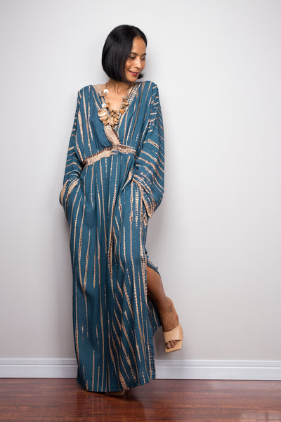 Tie dye kaftan, Shop teal tie dyed maxi dress from Nuichan