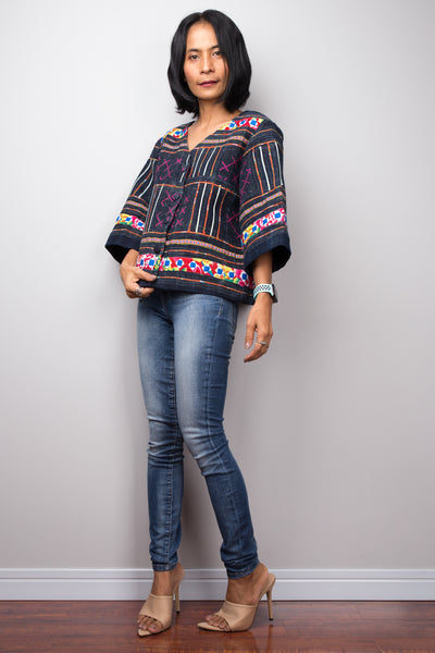 Hmong Jacket blouse, Hill tribe Blouse Top