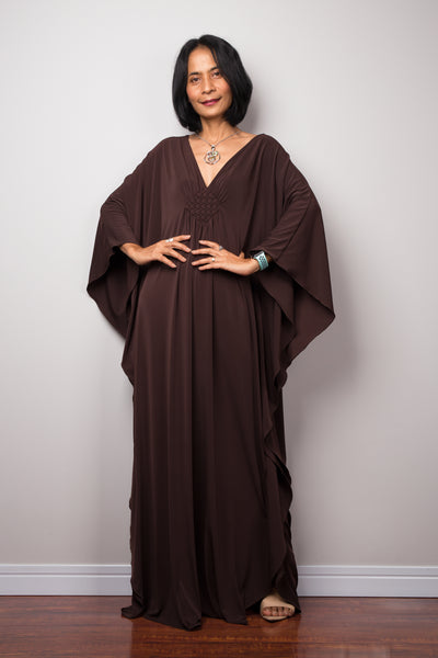 Plus size kaftan maxi dress.  Long brown gala dress