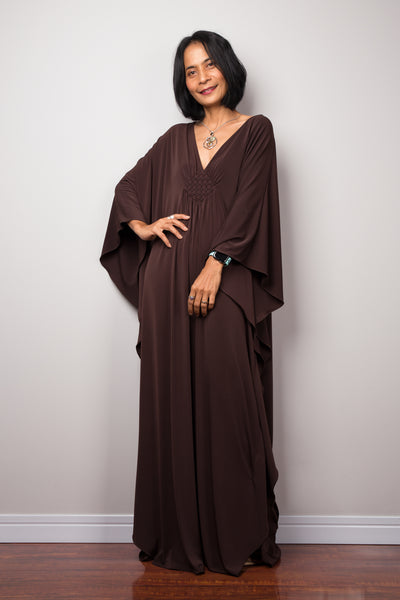 Buy kaftan for women online.  Dark chocolate brown kaftan dress by Nuichan