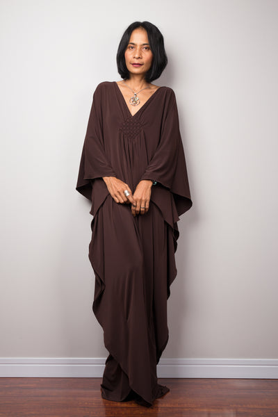 Long brown loose fit maxi dress by Nuichan