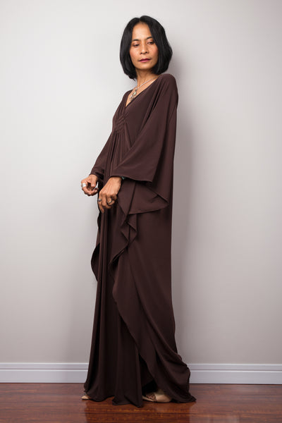 Brown kaftan dress with plunging neckline