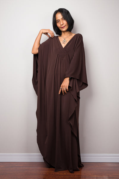 Elegant brown evening dress.  Nuichan offers timeless kaftans at affordable prices.