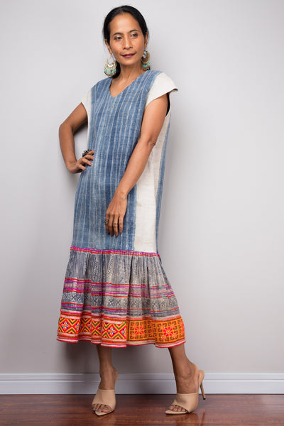 Bohemian Chic Hmong Hill tribe dress | Vintage tribal dress | Indigo hemp dress | Upcycled dress
