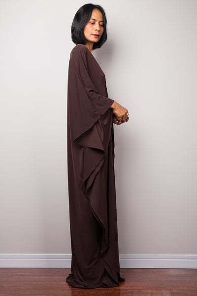 Brown kaftan dress with plunging neckline, sideview