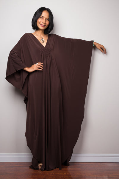 Elegant brown evening dress.  Nuichan offers timeless kaftans at affordable prices. Long styles dress.
