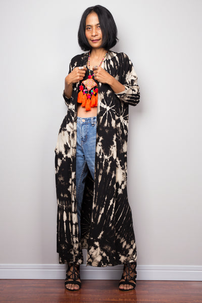 Tie Dye Cardigan, Bleached Hippie Duster Vest with pockets, Festival Wrap Cape, Gypsy cover duster