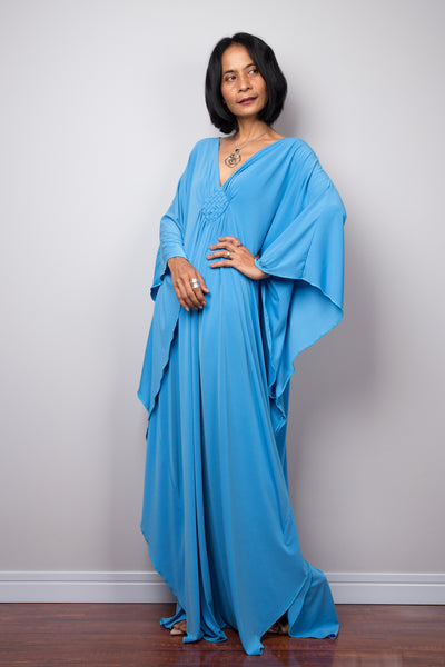 Long blue loose fit maxi dress by Nuichan