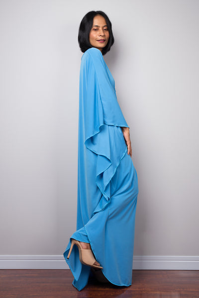 Baby blue kaftan dress by Nuichan (sideview)