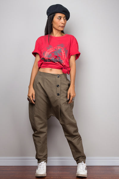 Linen harem pants with pockets, brown loose fit baggy pants, unisex pants, urban fashion pants