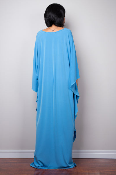 Baby blue kaftan dress by Nuichan (back view))
