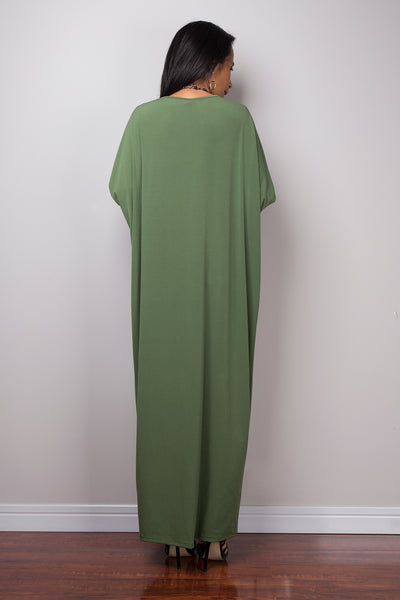 Green Dress, green mid length dress, lounge dress, oversized dress, loose fitting green dress, plus size dress