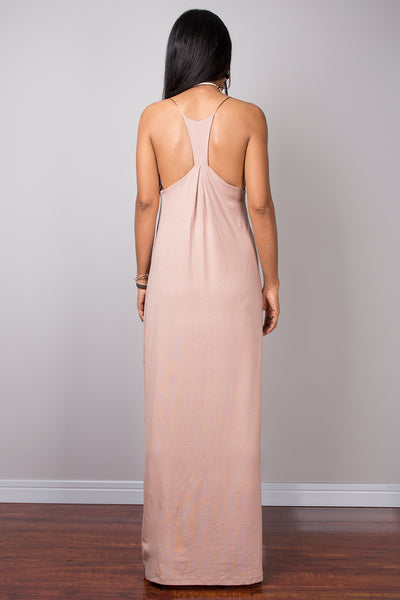Nude dress, bodycon dress, long nude dress, party dress, soft brown dress, openback dress, spaghetti strap dress, sexy nude dress