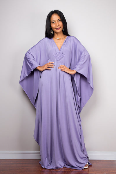 Lilac Dress - Light Purple Kaftan - Kimono Butterfly Dress: Funky Elegant Collection No.1s