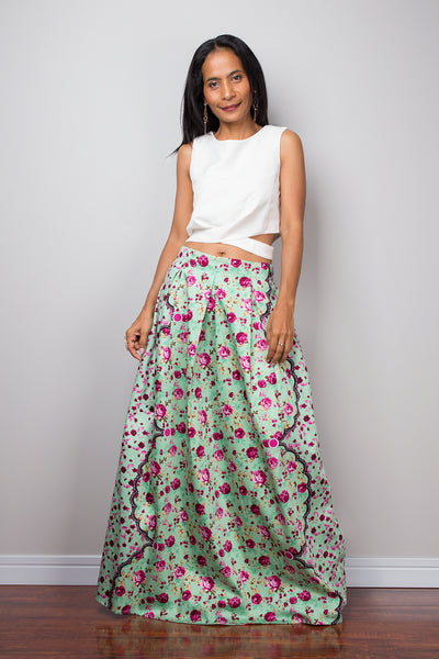 Floral maxi skirt,  Boho Skirt, light green Skirt, Maxi Skirt, Summer skirt, long skirt, pleated skirt, floral skirt