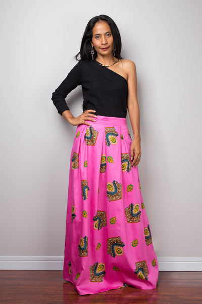 Pink maxi skirt,  Boho Skirt, pink Skirt, Maxi Skirt, Summer skirt, long pink skirt, pleated skirt