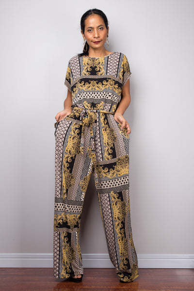 Boho cap sleeve Jumpsuit | One piece jumper pantsuit with pockets and matching sash