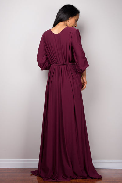 Purple maxi dress with long sleeves,  Pleated purple dress