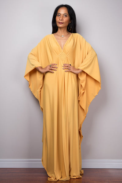 Yellow Kaftan, Maxi Frock Dress, Women's Yellow Kaftan, Kimono Butterfly Maxi Dress, Oversized dress, Loose fit plus size dress, Caftan dress