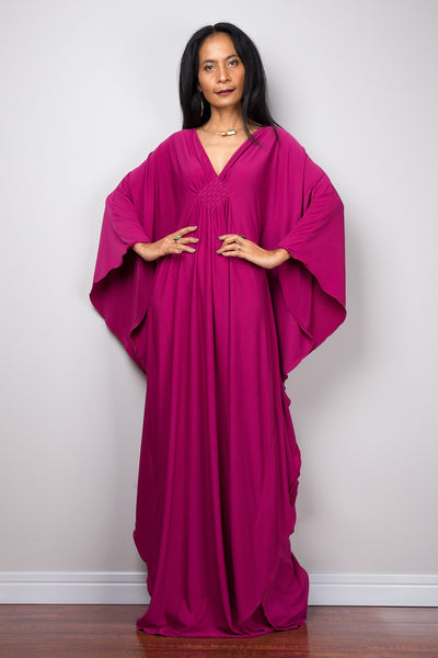 Raspberry Pink Kaftan, Maxi Frock Dress, Women's Dark Pink Kaftan, Kimono Butterfly Maxi Dress, Oversized dress, Loose fit plus size dress, Caftan dress