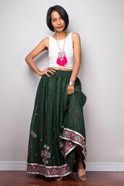 Green Saree skirt | Gathered sari maxi skirt | Long boho skirt with pocket