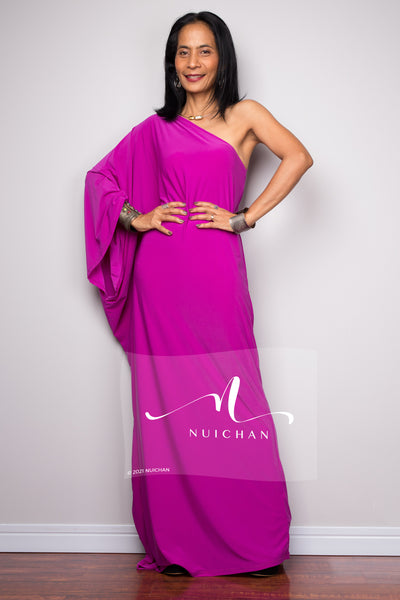 Magenta one shoulder dress
