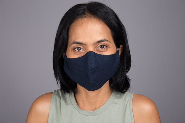 Buy Blue Cotton Face Mask online | Fabric Mask with filter holder