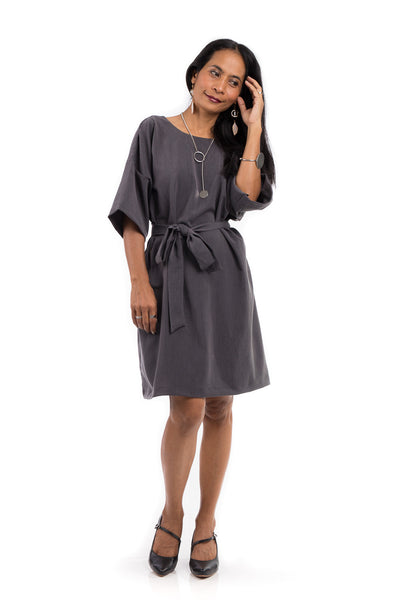 Short grey summer dress.  Modest grey dress with medium length sleeves and a subtle plunging neckline in the back.