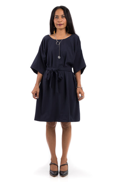 Short dress, navy blue summer dress