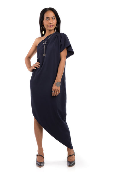 Navy Blue Sleeveless dress, one shoulder dress