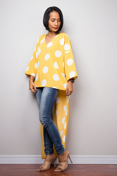 Polka dot blouse top | poncho top, beach cover up, summer tunic dress