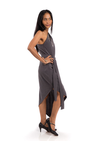 Grey Sleeveless dress, one shoulder dress