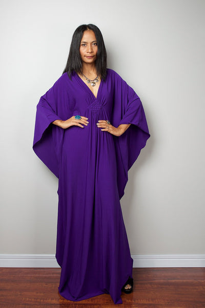 Purple Kaftan Frock Dress  - Kimono Maxi Dress FU1S