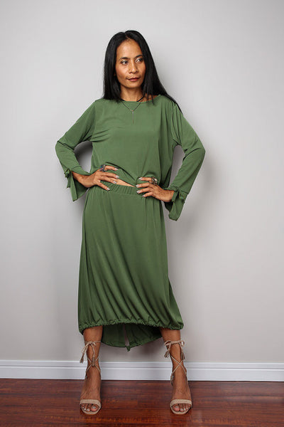 Two piece dress, green skirt and matching top, 2 piece set dress : Street Soul Collection no 3