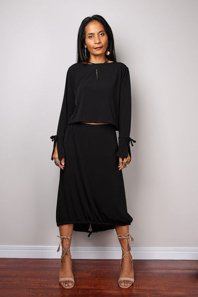 Black Two piece dress, black skirt and matching top, 2 piece set dress : Street Soul Collection no 3