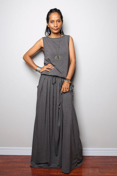 Top grey sleeveless dress, dark grey maxi dress, dress with pockets, pleated skirt dress by Nuichan