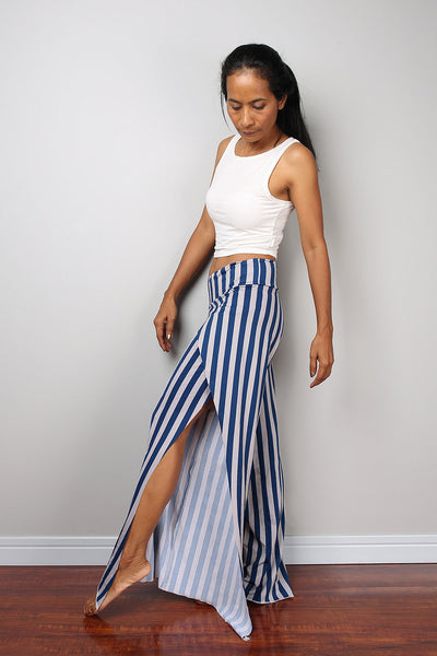 blue and grey striped pants, split pants, yoga pants, comfy pants by Nuichan
